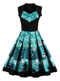Knielänge Fit Und Flare Druck Vintage-Kleid - Schwarz Xl