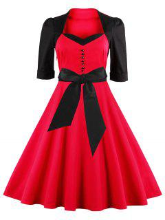 Midi Fit And Flare Two Tone Vintage Dress - Red L