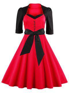 Vestido Campana Dos Tonos A Media Pierna Ajustado - Rojo S