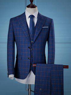 Pocket Single Breasted Grid Three Piece Suit - Blue 2xl