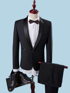 Slim Fit Shawl One Button Tuxedo Twinset - Black Xl