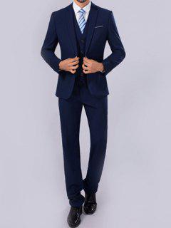 Slim Fit One Button Lapel Blazer Suit - Deep Blue M