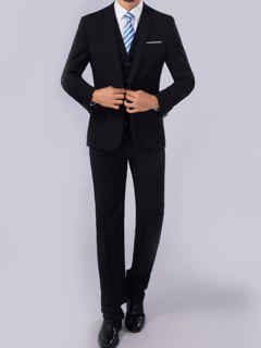 Slim Fit One Button Lapel Blazer Suit - Black M