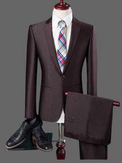 Notch Lapel Pocket One Button Blazer And Pants Twinset - Coffee 3xl