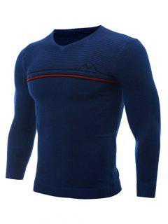 V Neck Striped Selvedge Embellished Knitting Sweater - Blue M