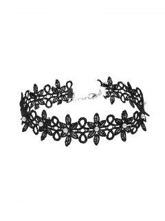 Lace Floral Faux Pearl Choker Necklace - Black