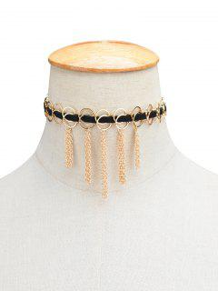 Faux Leather Circle Fringed Choker Necklace - Golden