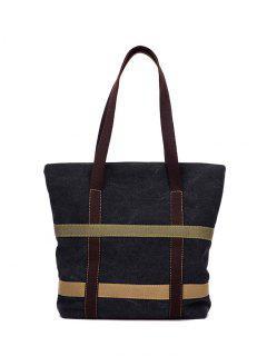 Straps Canvas Shoulder Bag - Black