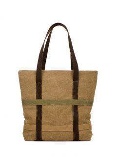 Straps Canvas Shoulder Bag - Khaki