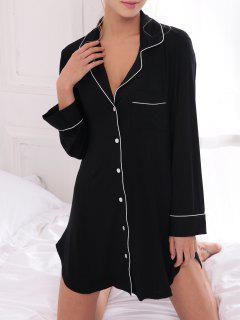 Cotton Sleep Shirt Dress With Pocket - Black Xs