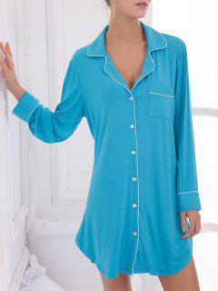 Robe Chemise De Nuit En Coton Avec Poches - Bleu Xs