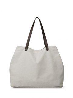 Canvas Stitching Shoulder Bag - Off-white