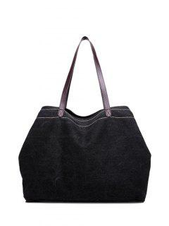 Canvas Stitching Shoulder Bag - Black