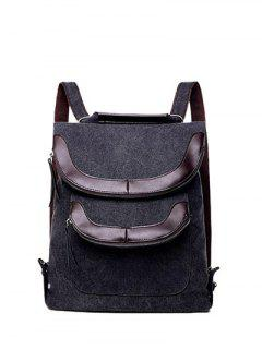Convertible PU Panel Canvas Backpack - Black