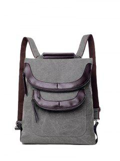 Convertible PU Panel Canvas Backpack - Gray