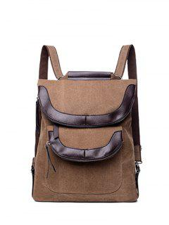 Convertible PU Panel Canvas Backpack - Coffee