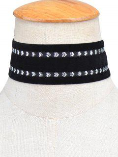 Heart Vintage Velvet Choker Necklace - Black