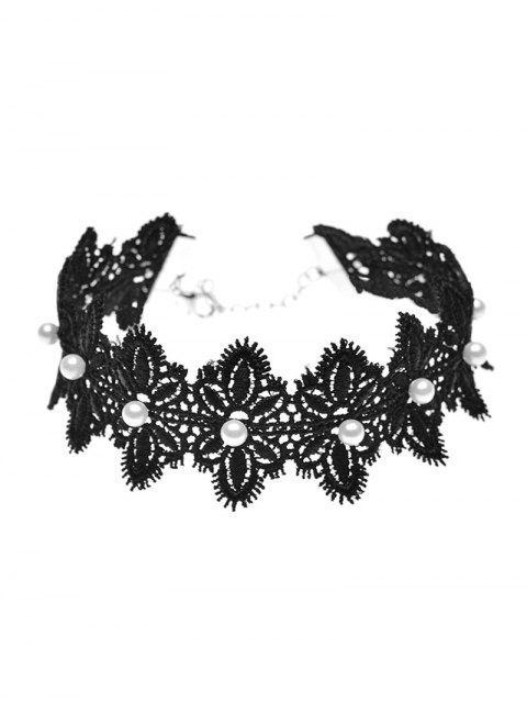 ladies Faux Pearl Lace Flower Choker Necklace -   Mobile