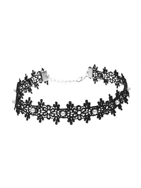 best Lace Artificial Pearl Floral Choker Necklace -   Mobile
