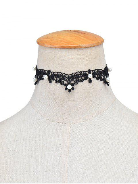 online Lace Artificial Pearl Choker Necklace - BLACK  Mobile