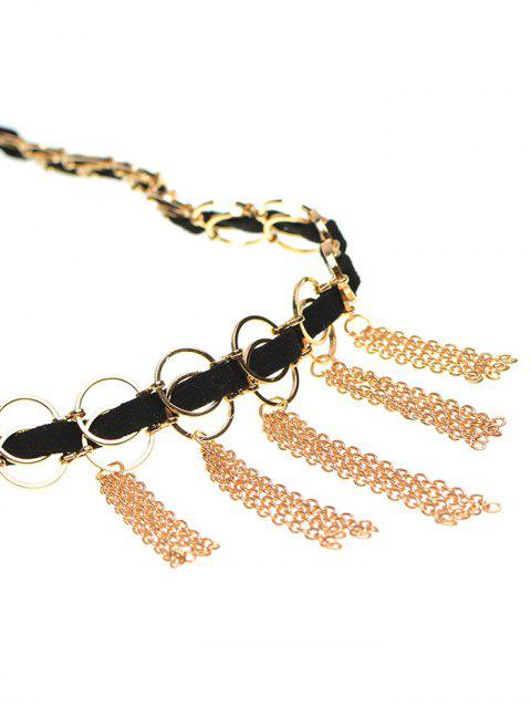 lady Faux Leather Circle Fringed Choker Necklace - GOLDEN  Mobile