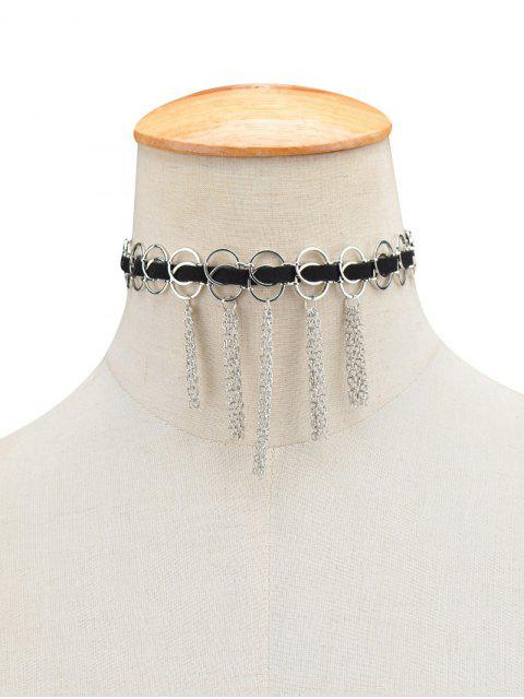 best Faux Leather Circle Fringed Choker Necklace -   Mobile