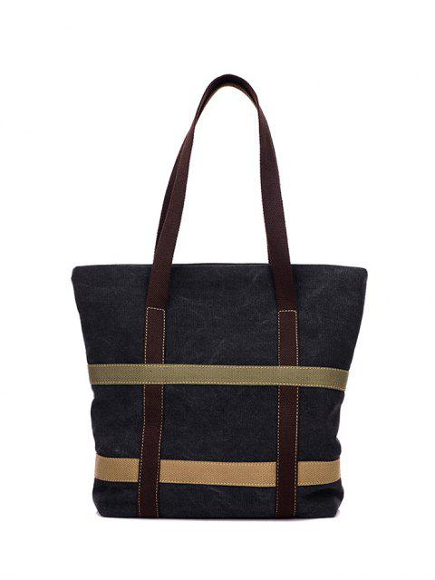 shops Straps Canvas Shoulder Bag - BLACK  Mobile