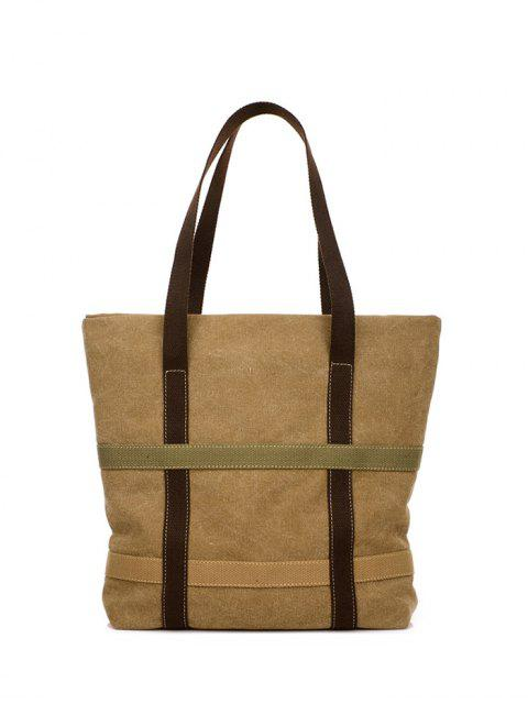 latest Straps Canvas Shoulder Bag - KHAKI  Mobile