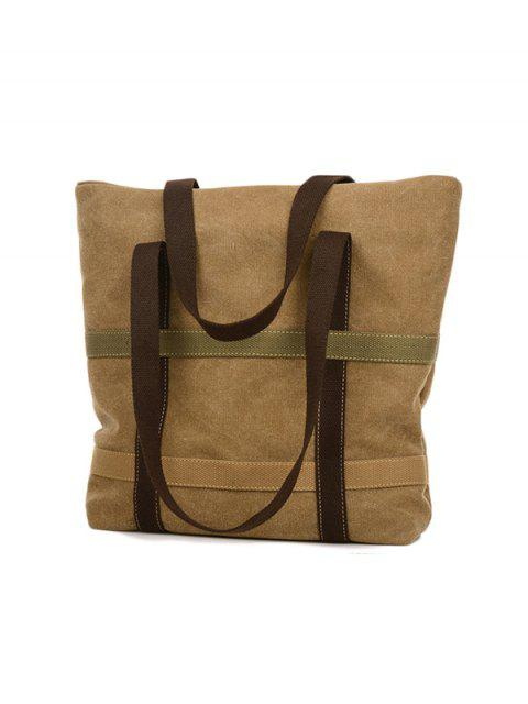 latest Straps Canvas Shoulder Bag - KHAKI  Mobile