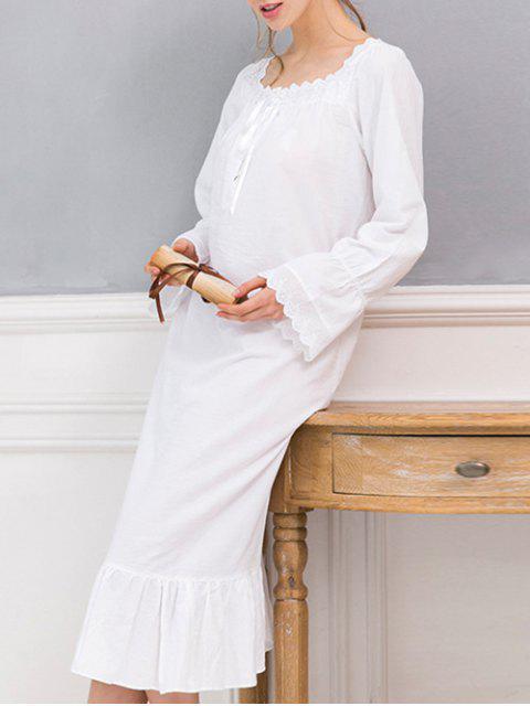 shops Square Collar Flounced Sleep Dress - WHITE XXS Mobile