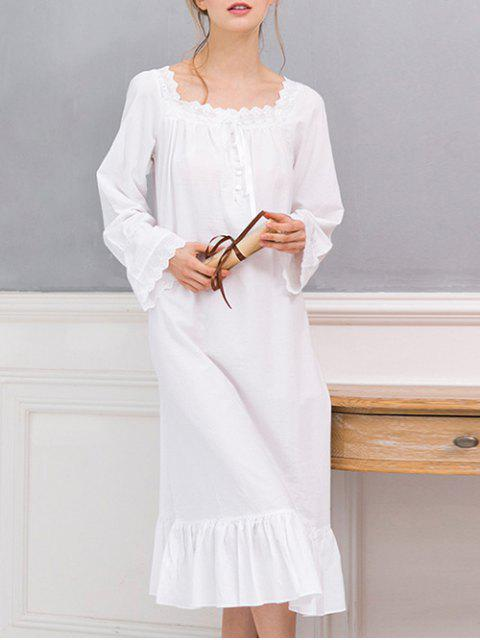outfit Square Collar Flounced Sleep Dress - WHITE M Mobile