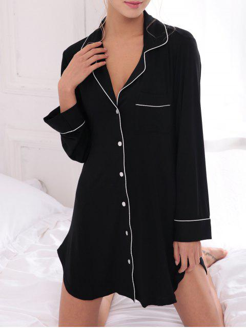 latest Cotton Sleep Shirt Dress With Pocket - BLACK M Mobile