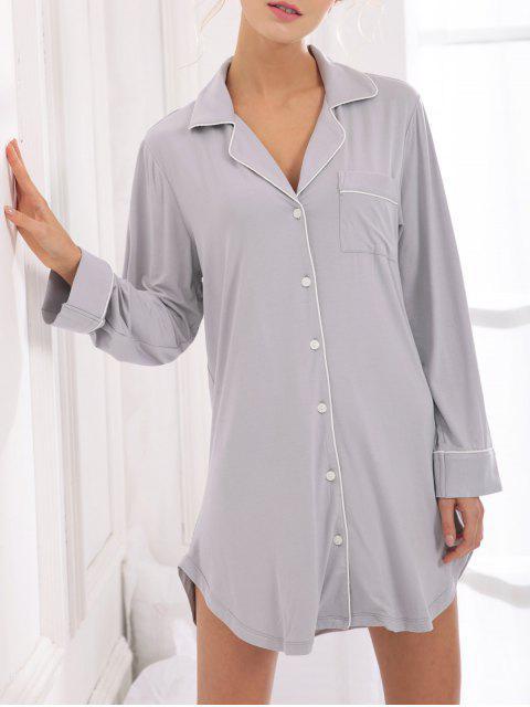 chic Cotton Sleep Shirt Dress With Pocket - GRAY M Mobile
