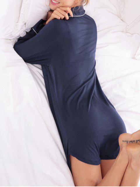 womens Cotton Sleep Shirt Dress With Pocket - PURPLISH BLUE M Mobile
