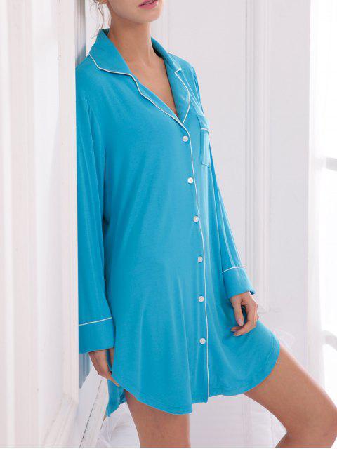 online Cotton Sleep Shirt Dress With Pocket - BLUE M Mobile