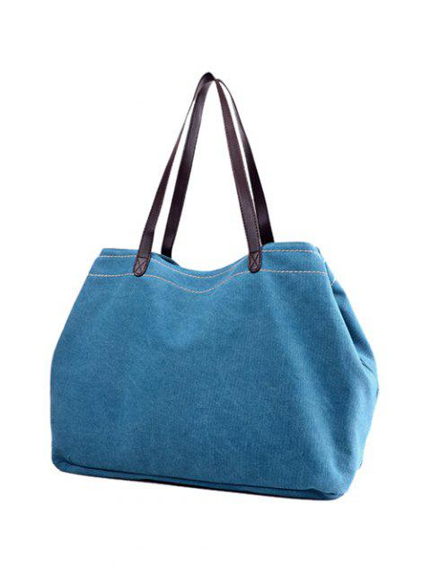 women Canvas Stitching Shoulder Bag - LAKE BLUE  Mobile