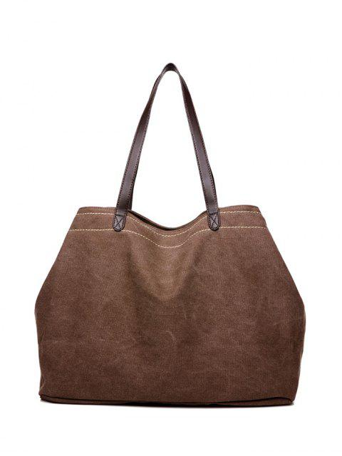 ladies Canvas Stitching Shoulder Bag - BROWN  Mobile