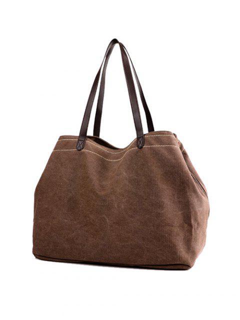 ladies Canvas Stitching Shoulder Bag - BROWN  Mobile