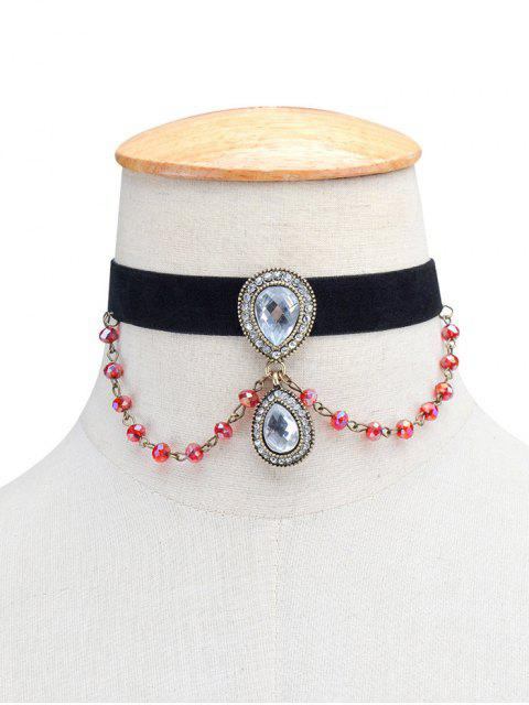 latest Artificial Gem Teardrop Velvet Choker Necklace -   Mobile