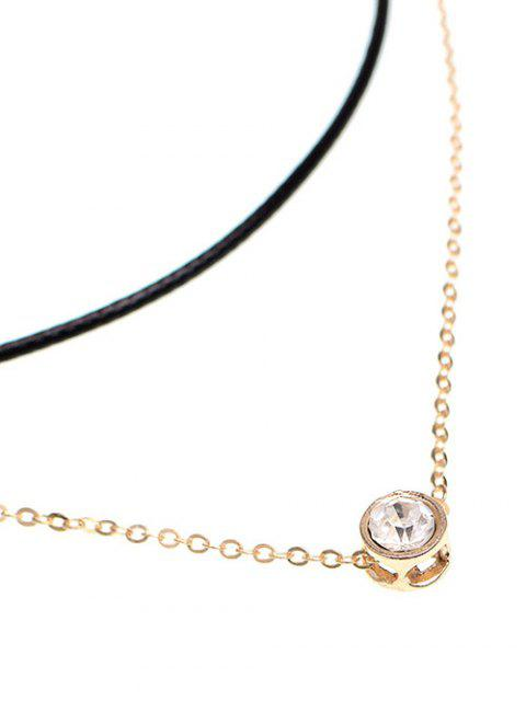 chic Layered Rhinestone Bar Necklace - GOLDEN  Mobile