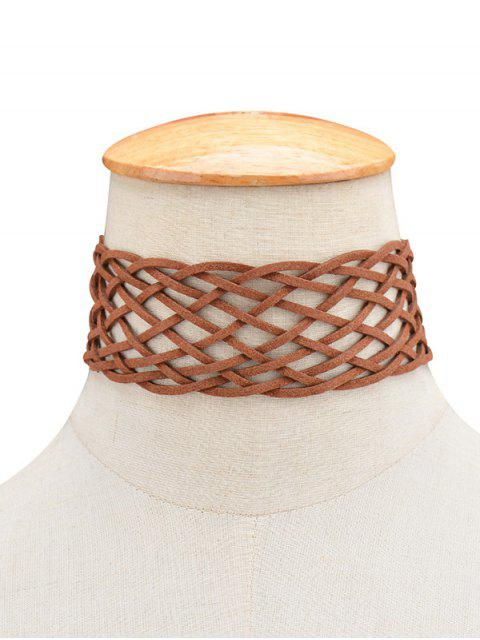 fancy PU Leather Braid Choker Necklace -   Mobile