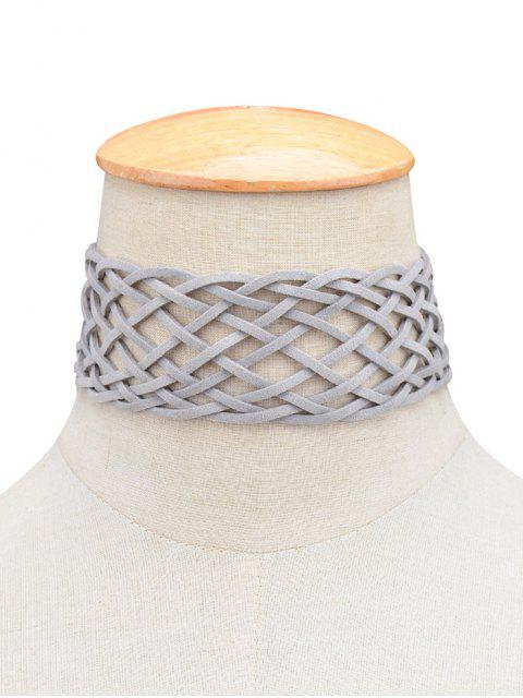 affordable PU Leather Braid Choker Necklace -   Mobile