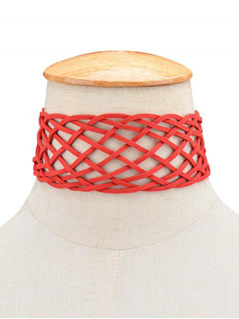buy PU Leather Braid Choker Necklace -   Mobile