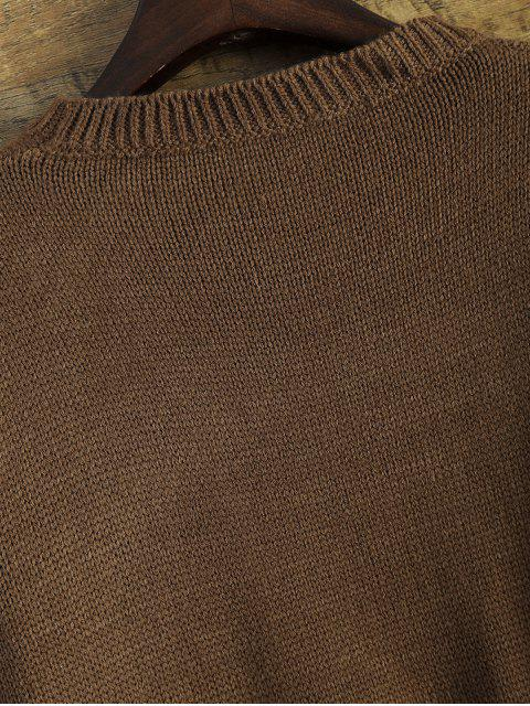 unique Distressed Patch Pocket Sweater - COFFEE ONE SIZE Mobile