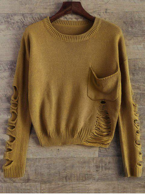 latest Distressed Patch Pocket Sweater - YELLOW OCHER ONE SIZE Mobile