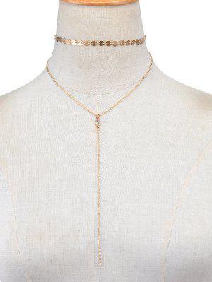Collier Vintage Multicouche à Paillettes  - Or