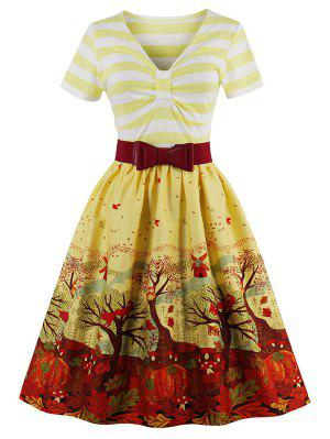 V Neck Fit And Flare Print Vintage Dress - Yellow M