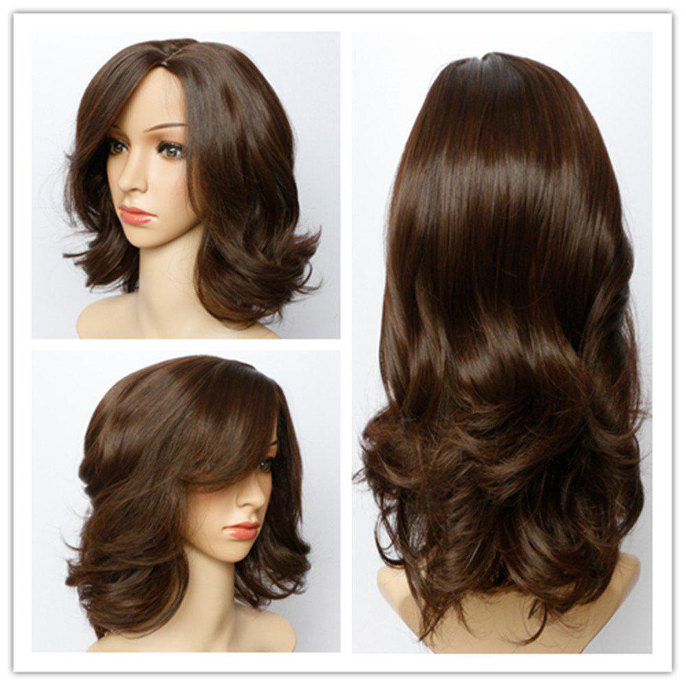 Fluffy Wave Capless Stunning Dark Brown Short Synthetic Wig For Women 190110801