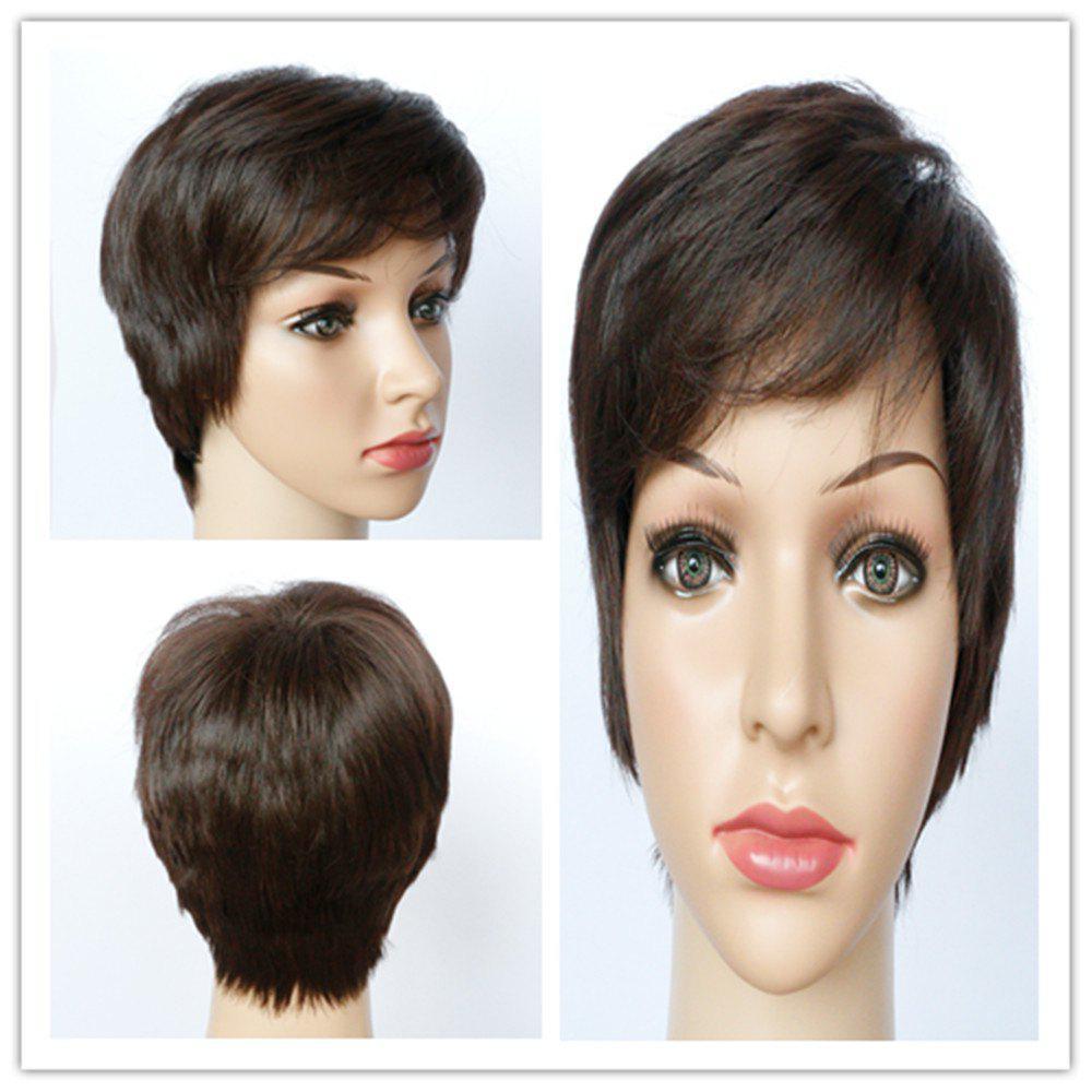 Refreshing Ultrashort Boy Cut Synthetic Fluffy Straight Layered Brown Wig For Women 191800401