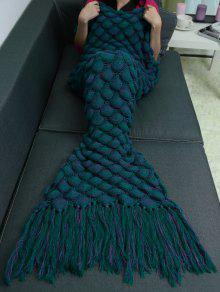 الأسماك الموازين شرابة تصميم الكروشيه حورية البحر الذيل بطانية - أزرق أخضر